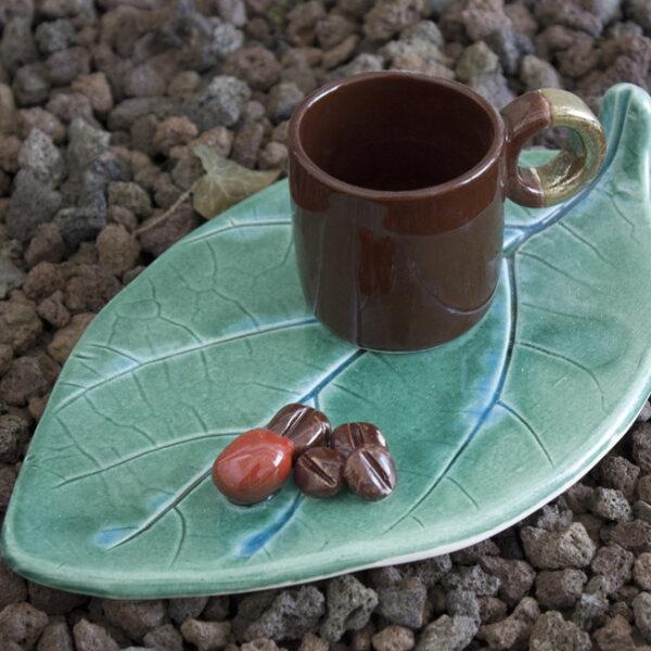 Kahve Çekirdekli Yaprak Fincan Takımı