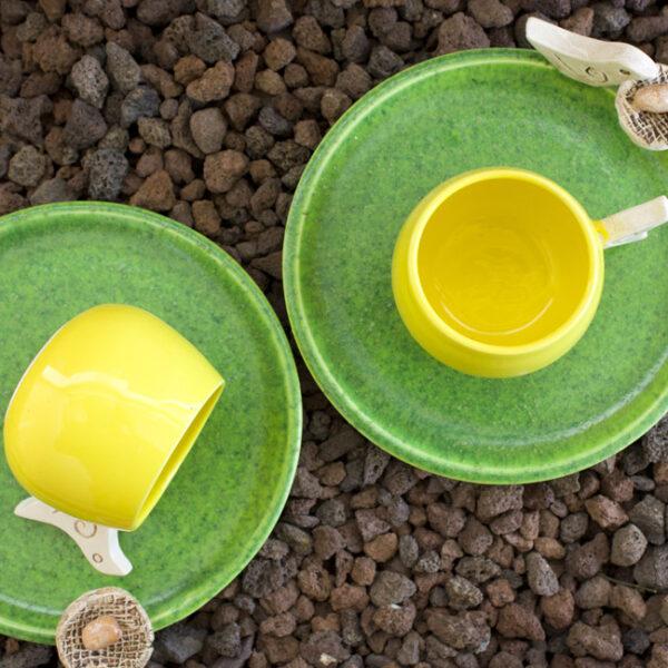 Kuşlu Fincan Takımı (yeşil-sarı renk)